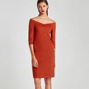 Zara Ponte Di Roma Bodycom Midi Dress Size L